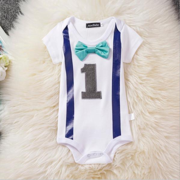 Infant Boy Jumpsuit Toddler Boys ropa encantadora roseta 1 año de edad color Mamelucos de cumpleaños 100% algodón