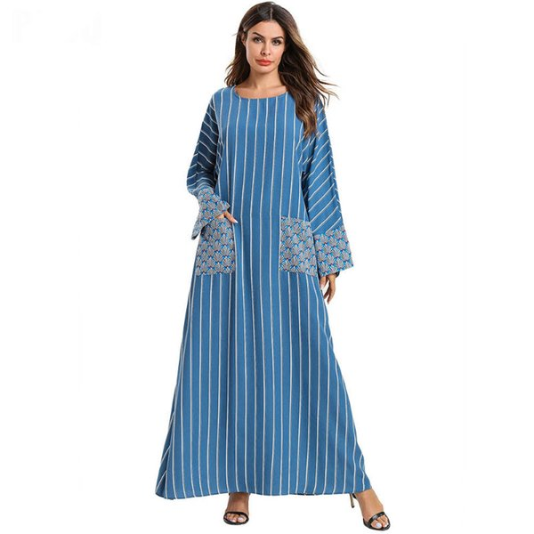 Plus size Casual Party Dresses Women Spring Women Long Sleeve Striped Printed Simple Loose Muslim Abaya Ankle Length Maxi dress with pockets
