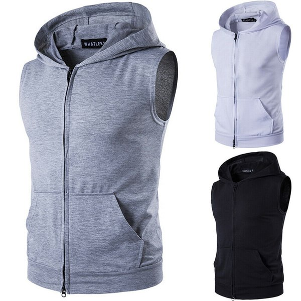 mens slim fit sleeveless shirts hooded zipper plain color muscle hoodie casual basic vests thin jacket, Black;white