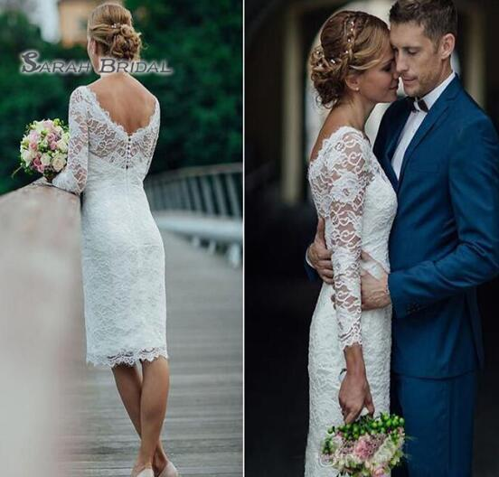best selling 2019 Vintage Boho Sheath Tea Length Wedding Dress Beach Sexy Long Sleeves Backless Evening Wear Formal Gown High-end Wedding Boutiques