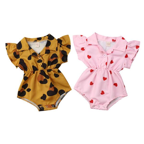 Cute Infant Baby Girl Ruffle Leopard Heart Print Romper Jumpsuit Outfits Sunsuit for Newborn Infant Children Clothes Kid