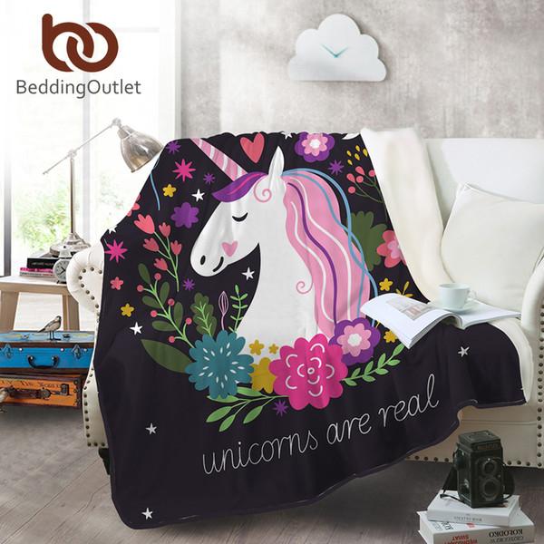 BeddingOutlet Unicorn Flannel Blanket Floral Printed Cartoon Coral Fleece Blanket for Kids Bed Sofa Throws Soft Rainbow Sheet