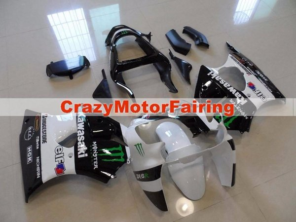New Injection Mold ABS Fairing Kits for Kawasaki Ninja ZX6R 6R 636 2000 2001 2002 Cool white black