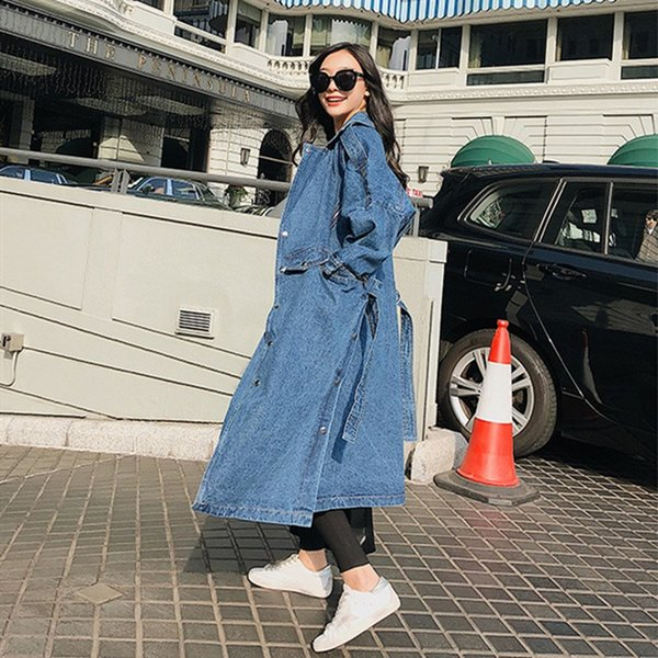 New Arrival Trench Coat Women Loose Denim Trench Coat Female Single-breasted Long Jeans Outwears
