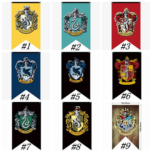 Hogwarts College Party Flags Harry Potter Gryffindor Banner Sign Flag 75*125CM House Wall Decoration Banner Polyester Flags ZZA1347-1