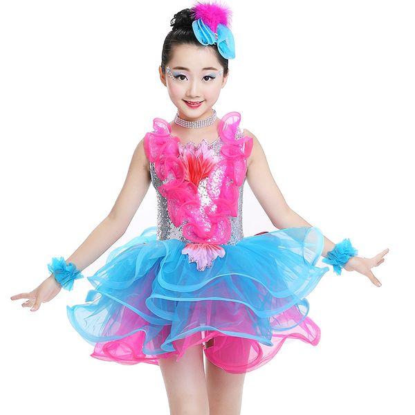 Trajes infantis saia de lantejoulas tutu meninas princesa berçário roupas de desempenho de dança jazz moderna