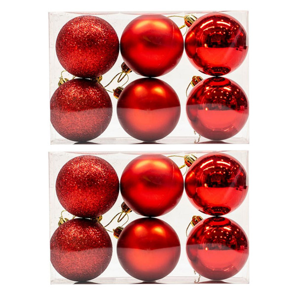 Surwish 12Pcs/Lot 5cm Christmas Ball Hanging Tree Ball Ornaments For Santa Party Decor - Red/Golden/Blue