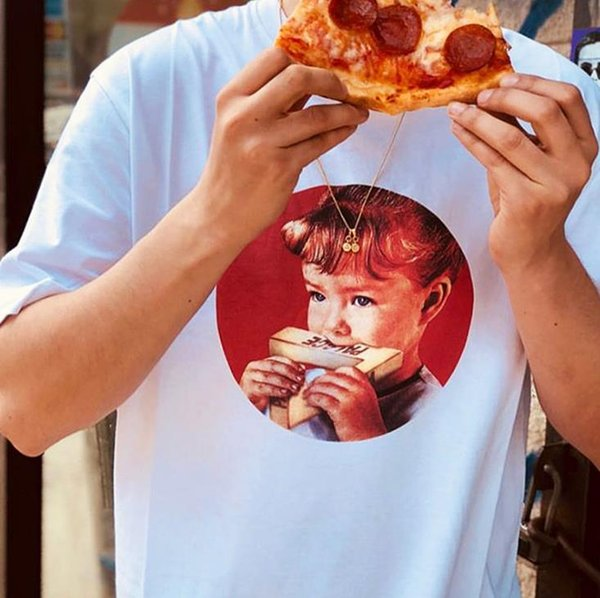 19 SS mens designer t shirt american hip-hop street summer pizza t shirts men women fashion casual tees women's printed sweatshirt tee M-XL