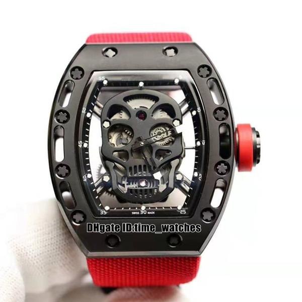 NUOVO quadrante Skull R 52-1 Orologio da uomo automatico cassa in acciaio nero PVD rosso Cinturino in nylon di alta qualità Orologio da barile da uomo