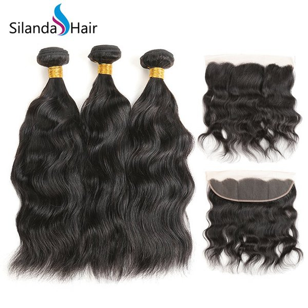 Silanda Hair Premium Natural Color Brazilian Remy Human Hair Weft 3 Weaves With 13x4 Natural Wave Lace Frontal Closure Free Shipping