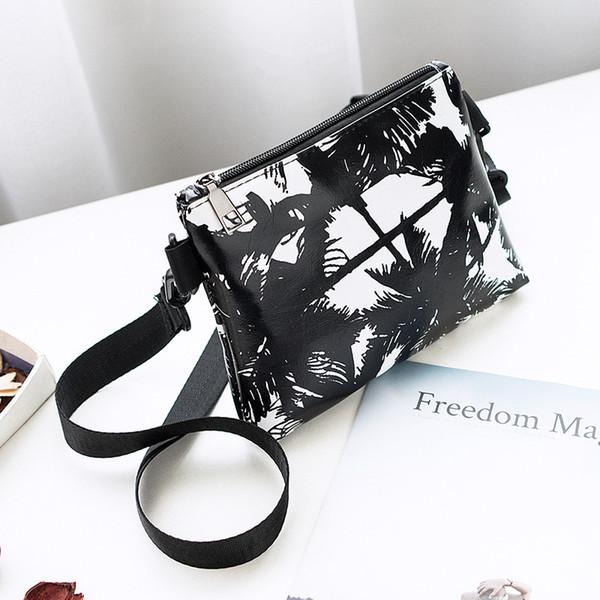 W&M Vintage black white Artwork Landscape PU leather handbag fashion shoulder bag ornaments woman messenger bag
