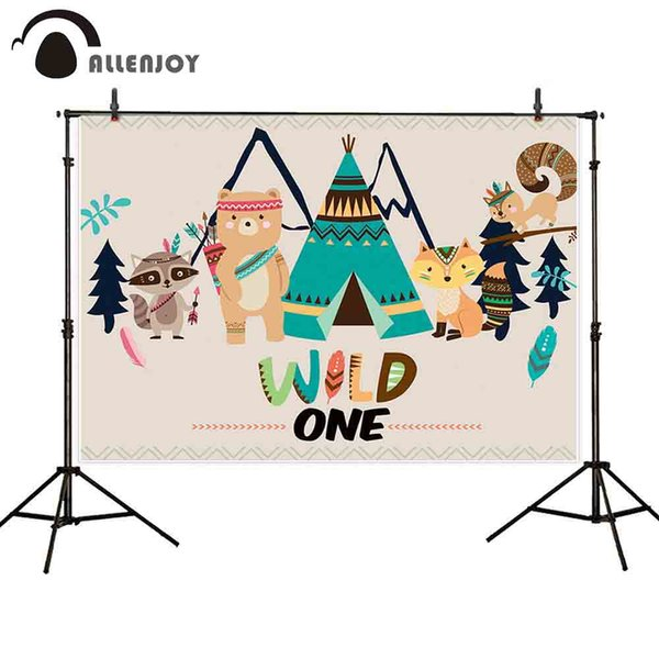 hoto Studio Backgrounds Allenjoy wild one photography backdrop Indian fox animal tent birthday party background Children photocall photob...