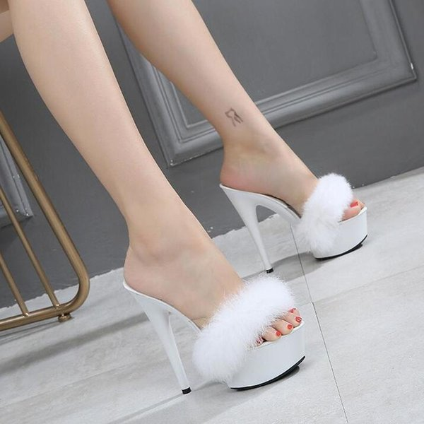 Dwayne Kaninchenfell High Heels Hausschuhe Frauen Sexy 4,5 CM Wasserdichte Plattform 15 CM Super High Heel Sandalen Weibliche Sommer Pelz Slides