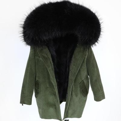 New arrival corduroy jacket with removable thick Raccoon furs liner Long parka hooded with Large fur collar for Womens