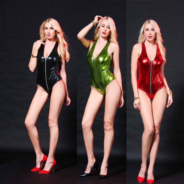 Plus Size Sexy Teddies en cuir verni Costumes Zipper Avant Pour Bar Clubwear Stripper Party Fantaisie