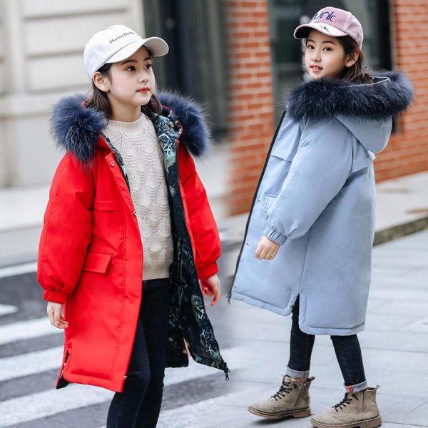 Inverno spessa giacca cappotti reversibili ragazze vera pelliccia con cappuccio Russian Girls inverno il cappotto dei bambini piumino parka lungo cappotto