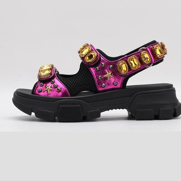 2019 nova moda de luxo sapatos de luxo designer de sandálias de cristal mulher de cristal de malha sandálias mulher designer de cristal de malha sandálias tamanho 35-40 x1