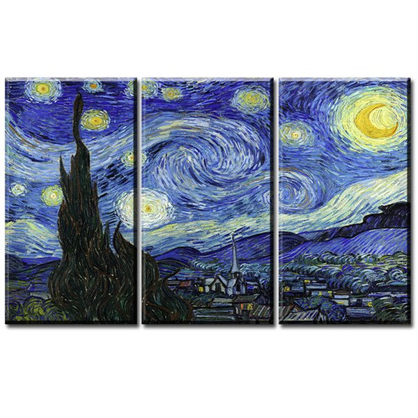 3 Pieces Canvas Prints Wall Art Oil Painting Home Decor Van Gogh STARRY NIGHT C (Unframed/Framed) 16x32x3.