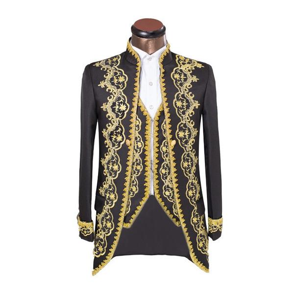 HB068 (Jacke + Hose + Weste) Design Männliche Anzüge Pailletten Bestickt Strass Männlicher Gastgeber Hochzeitskleid Mann Sänger Tänzer Kostüm