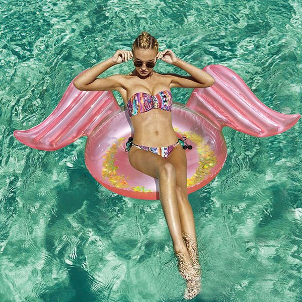 top popular 2019 Hot Rose Gold Inflatable Angel Wings Pool Float with Glitters Inside Inflatable Mattress Swimming Ring Tube Beach Sea Party 2021