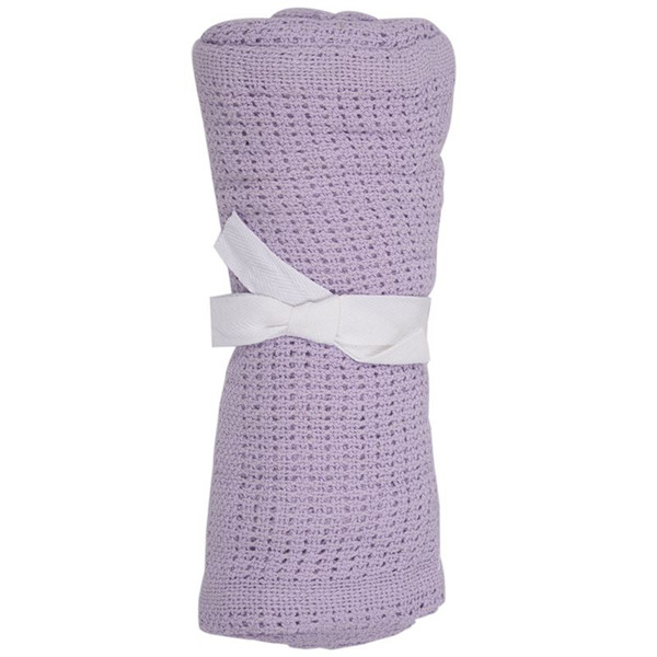 100% Cotton Baby Infant Cellular Soft Blanket Pram Cot Bed Mosses Basket Crib Color:Light purple