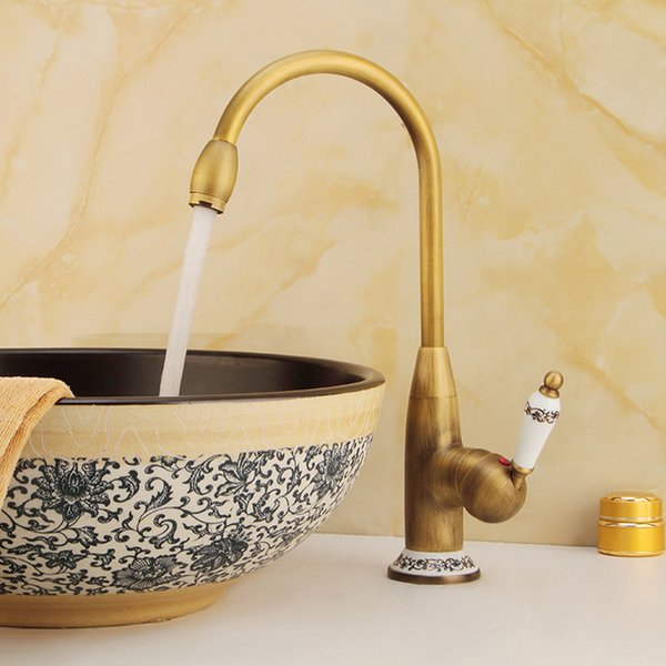 1 Pc Pure Copper Antique Lead-free Brass Faucet Single Handle Hot And Cold Water Bathroom Kitchen Basin Mixer Tap Rotary Faucet