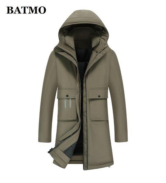 BATMO 2019 nuevo invierno de la llegada 90% de pato blanco abajo chaquetas con capucha, chaquetas con capucha caliente del invierno de los hombres, de talla grande YR8099