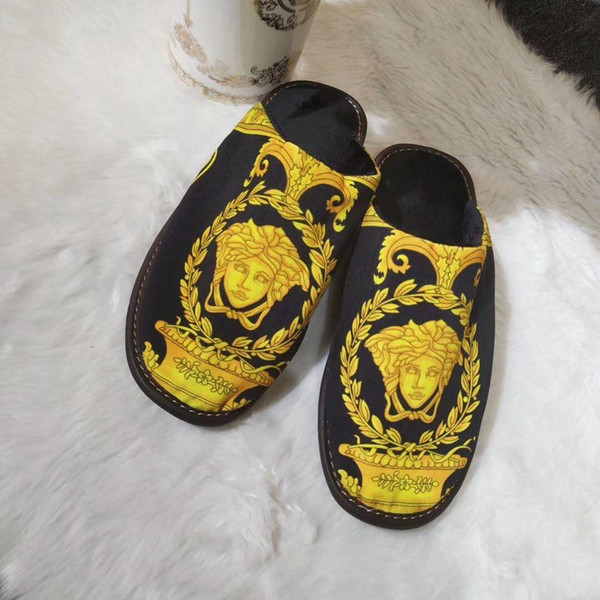 Luxury classic print designer slippers for men women autumn winter slippers comfortable cotton 2019 new arrival multi-color optional