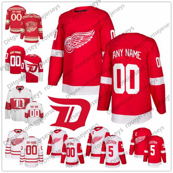 Custom Detroit Red Wings White Third Jersey Qualsiasi numero Nome uomo donna gioventù bambino Abdelkader Nielsen Bertuzzi Howe Yzerman Bernier 71 Larkin