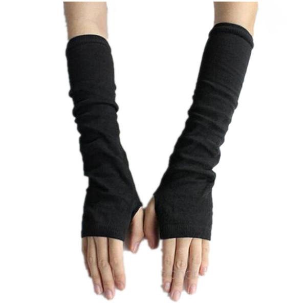 Guantes CUHAKCI mujeres Manguitos sin dedos largos caliente Sólido manoplas de punto de Protección calentador del brazo de medio dedo mangas Negro Gris