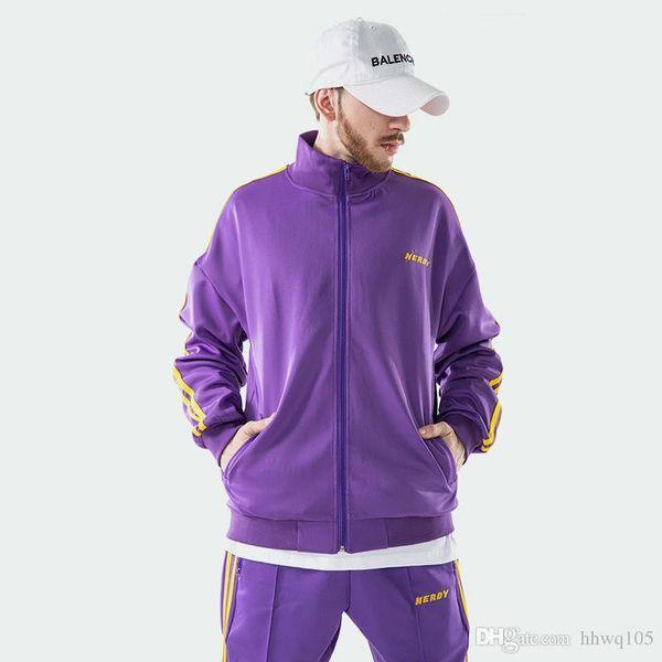 Men's Sports Jacket Purple Black Embroidery Letters Zip-Up Sweatshirt Fashion Kanye West Side Stripe Hoodie Coat Tracksuit TXH0435
