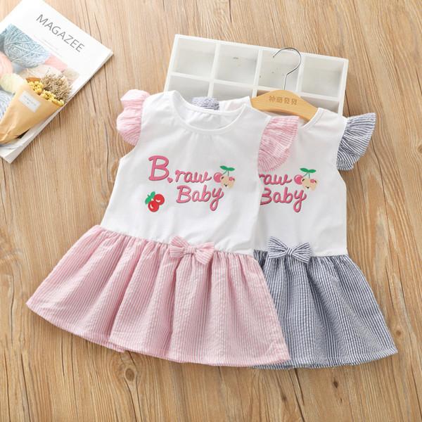 good quality Baby Girls Dress Kids Girl Party Wedding Cartoon Pattern Short Sleeves Princess Dress Girls Cotton Clothes