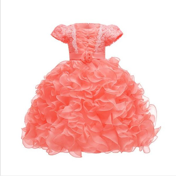 New Arrival Wedding Dresses for Kids Short Sleeves Ruffled Pleated Organza Princess Tutu Gowns Baby Girls Clothes Age 1-10 Years old