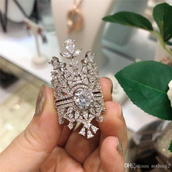 diamante di lusso Wedding Rings Designer Sparkly insieme a due pezzi della Corona Anelli gioielli regali per le donne Wedding Party di modo di trasporto libero