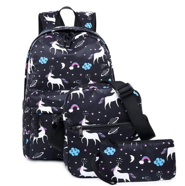 Fashion Fashion and Hot 3pcs Waterproof Girls School Bag Bookbags Unicorn Print Backpack Laptop and Travel Bags Shoulder Bag
