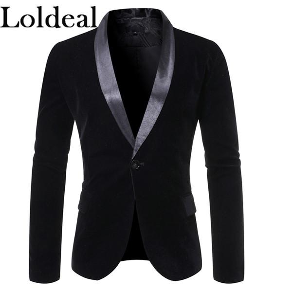 loldeal flannel suit men jacket autumn winter new hit color slim fit blazer jacket men casual one button