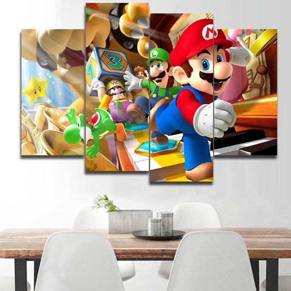 Moderne 4 Panneau imprimé Super Mario Photo Cuadros Art Toile Peinture pour Salon Cadeau Huile sur toile Image Imprimé No Frame