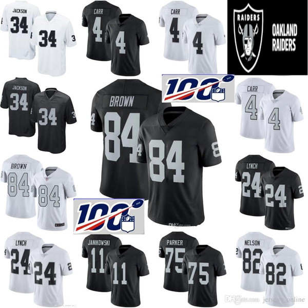 san francisco e4200 d29d2 2019 84 Antonio Brown Raiders Jersey 96 Clelin Ferrell 28 Jacobs 4 Derek  Carr 24 Marshawn Lynch 34 Bo Jackson Oakland # Raiders Football Jerseys  From ...