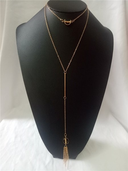 cecmic rose gold rosary ankh long necklaces with double layer for girls