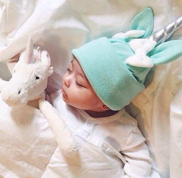Autumn Winter Unicorn Fashion Baby Hats Children Photo Props Cute Baby Girls Boys Bow Cartoon Toddler Cotton Cap Headwear Hat
