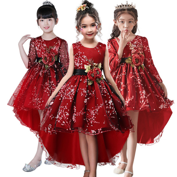 75a126c897486 2019 Flower Girl For Clothes Plum Wine Red Wedding Trailing Children Kids  Party Baby Girls Princess Dress J190521 From Tubi06, $33.83 | DHgate.Com