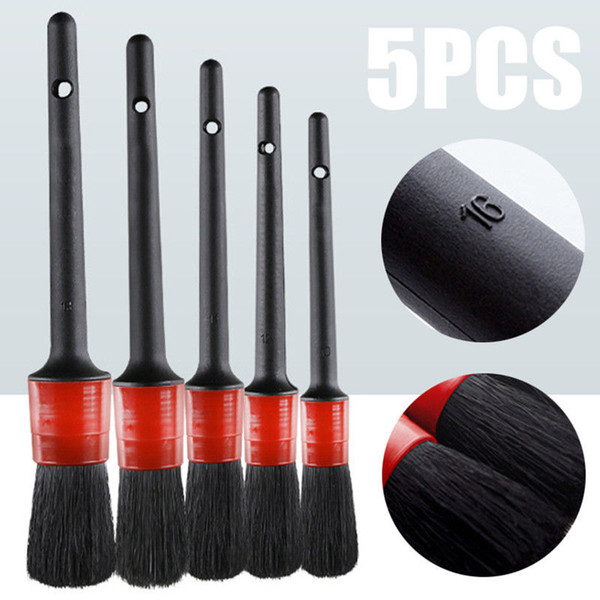 5Pcs/set Soft Boar Hair Brushes Car SUV Detailing Wheel Wood Handle for Cleaning Dash Trim Seats