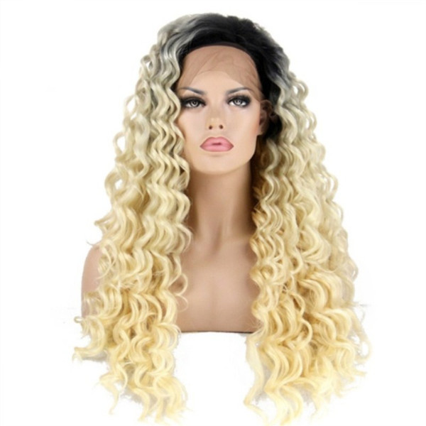 Free Shipping Long Curly Black Root Ombre Blonde Synthetic Lace Front Wig Two Tones Color Hair Wigs Heat Resistant for Women Full Head