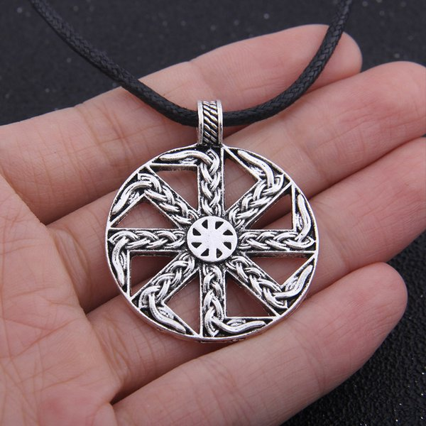 Wholesale Handmade Pendant Necklace Slavic Amulet Pagan Solar Symbol Slavic  Wheel Nordic Amulet Viking Men Pendant Necklaces Diamond Pendant From