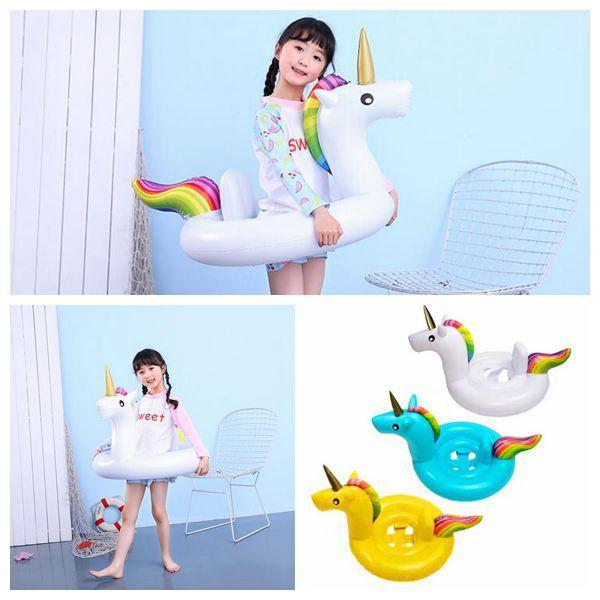 top popular INS Inflatable Unicorn Floats Kids Unicorn Float Swimming Ring Baby Unicorn Life Buoy Floating Ring Outdoor Play CCA11541 10pcs 2019