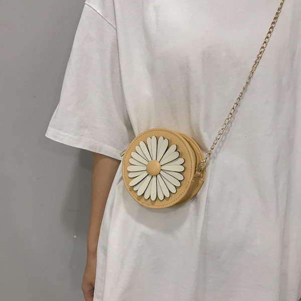 Cute Small Shoulder Bag Leather Cross Body Bag Cute Handbags Women bags designer Messenger Bags Chain Flower Small Round #20