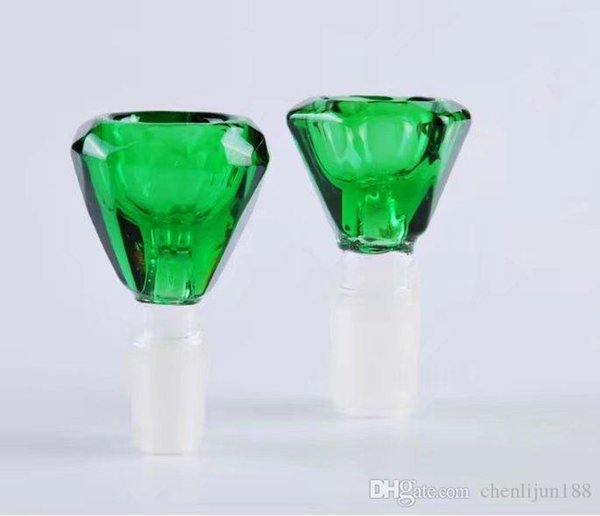 Green diamond head Wholesale Glass Hookah, Glass Water Pipe Fittings, Free Shipping