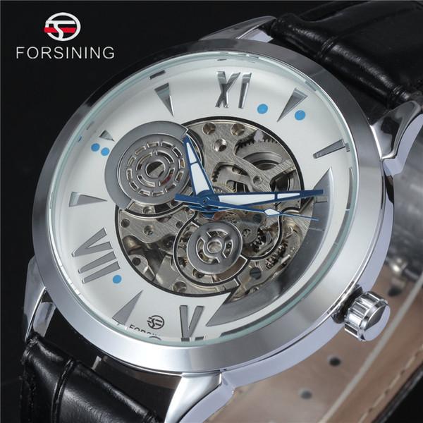 FORSINING Marque 2016 Nouveau Hommes Mécanique Automatique Montre-bracelet de luxe en argent Skeleton Black Watch bracelet en cuir Robe Homme Horloge