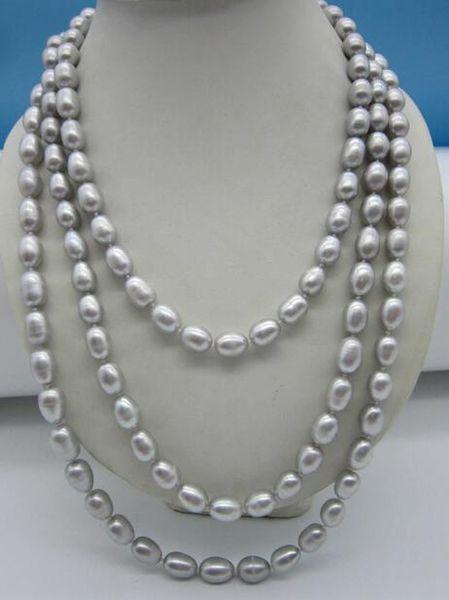 """Elegant 11-12 mm baroque grey pearl necklace 50"""""""