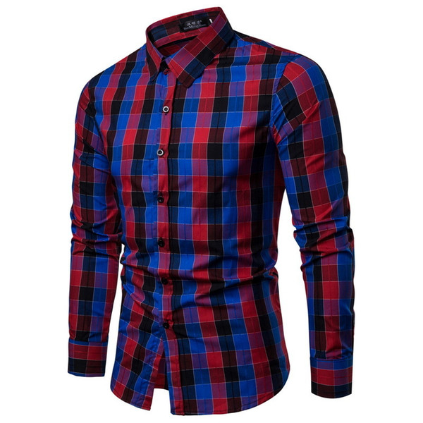Brand 2019 New Fashion Male Shirt Long-sleeves Tops Lattice Mens Dress Shirts Slim Men Shirt good quality